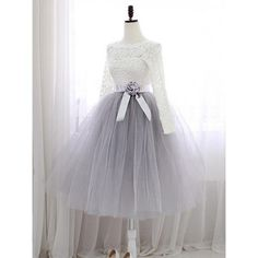 Sweet Short Homecoming Dresses,A-line Scalloped Neck Lace Cocktail Dresses,Tulle Sashes / Ribbons Knee-length Graduation Dress,Long Sleeve Prom Dresses Lace Homecoming Dresses, Prom Dresses Long With Sleeves, Dresses Short, Graduation Dresses, Evening Dresses, Formal Dresses, Maxi Dresses, Dress Long, Dress Prom