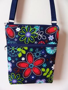 Navy+Vibrant+Floral+Small+Zipper+by+BHipBags+on+Etsy