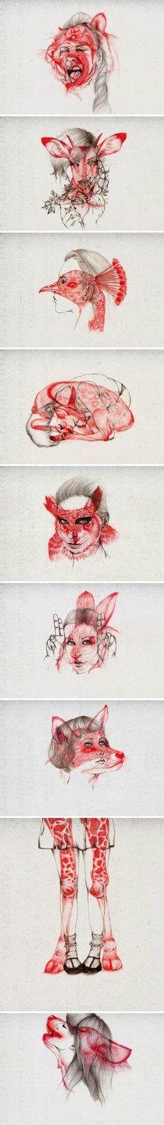 Peony Yip Animal Morphing Illustrations via - 堆糖 发现生活_收集美好_分享图片