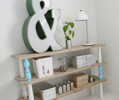 DIY bookcase- cute idea on the up-cycled pieces used.