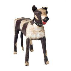Folk Art Dog  USA  circa 1929  Folk Art Dog    Wrapped canvas on wood foundation.