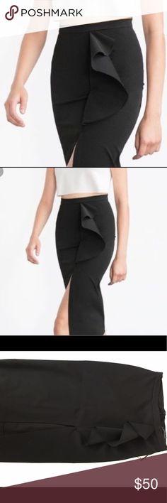 Zara Ruffle Skirt with Slit Long Modi Skirt Zara Skirts Midi