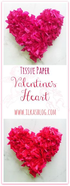 Tissue Paper Valentine's Heart. Made form card board and tissue paper. Easy to follow DIY Valentine's decor and gift idea! Also kid- friendly!! #valentine #valentine's #craft #DIY #tissue #decor
