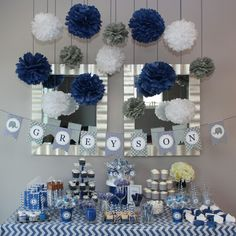 51 chevron baby shower ideas, chevron and polka dot baby shower Baby Shower Azul, Baby Shower Chevron, Navy Baby Showers, Idee Baby Shower, Shower Bebe, Baby Boy Shower, Baby Shower Gifts, Baby Party, Baby Shower Parties