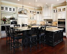 LOVE THIS...want black island and white cupboards in next house. T-shape Kitchen Island Design, Pictures, Remodel, Decor and Ideas