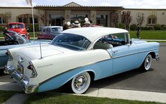 1956 Chevrolet Two-Ten Sport Coupe - White over Nassau Blue - rear/side