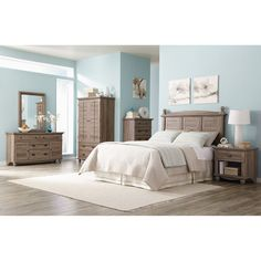 Sauder Harbor View 6-Piece Bedroom Set, Salt Oak: Furniture : Walmart.com