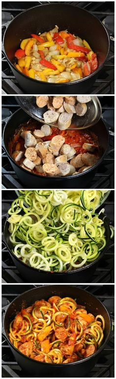 Peppers w Zucchini Noodles & hearty pasta sauce - topped off w/yummy melted blend of Mozzarella, Asiago, & Parmesan cheese.& Peppers w Zucchini Noodles & hearty pasta sauce - topped off w/yummy melted blend of Mozzarella, Asiago, & Parmesan cheese. Zoodle Recipes, Spiralizer Recipes, Paleo Recipes, Dinner Recipes, Cooking Recipes, Tapas Recipes, Venison Recipes, Crab Recipes, Freezer Recipes