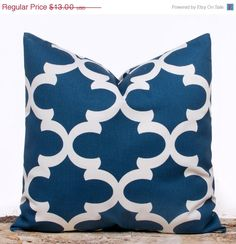 SALE Blue Lattice Patterned Pillow Cover Handmade by LilyPillow, $11.70