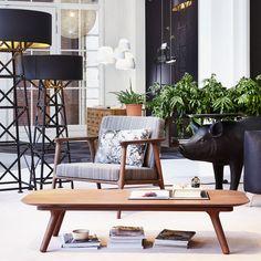 Moooi   Zio Lounge Chair, Eiche Zimtfarben / Bezug Manga Blau