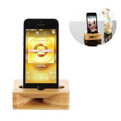 Wooden Sound Amplifier Bamboo Desktop Phone Holder Stand for iPhone Xiaomi Samsung under 5.5 Inch