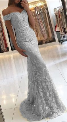 mermaid lace long prom dress,off the shoulder prom party dresses,grey evening dresses by prom dresses, $184.00 USD