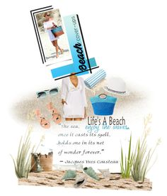 """""""Life's A Beach"""" by onesweetthing ❤ liked on Polyvore featuring Ralph Lauren, Alex + Alex, Ancient Greek Sandals, Erdem, Linum Home Textiles, BCBGMAXAZRIA and IMAX Corporation"""