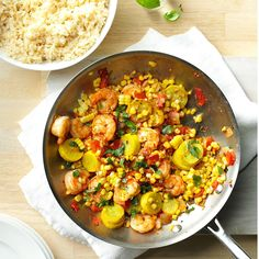 I make this seafood stir-fry at summer's end when my garden has plenty of tomatoes, squash, garlic and corn. For a quick supper, we serve it over rice. Shrimp And Corn Recipe, Shrimp Recipes, Fish Recipes, Shrimp Dishes, Shrimp Meals, Seafood Meals, Fish Dishes, Corn Recipes, Stir Fry Recipes