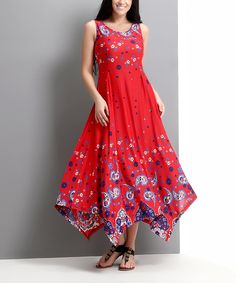 Red Paisley Handkerchief Maxi Dress - Plus by Reborn Collection #zulily #zulilyfinds