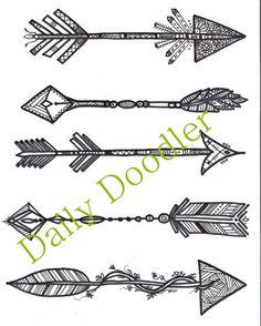 Adult Coloring Page - Five Arrows - Instant Download - Zentangle - Doodle Illustration - DailyDoodler - Unique Arrow Art Drawing