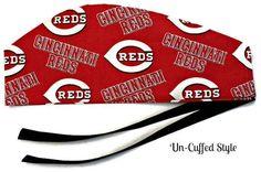 Men's Adjustable Cuffed or Un-Cuffed Surgical Scrub Hat Cap in Cincinnati Reds