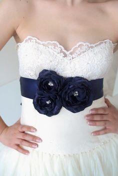 NAVY Bridal Sash, Navy Blue Wedding Sash,  Wedding Flower Sash, Bridal Dress Belt