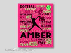 Softball Pitcher Typography Art Print Perfect for by twenty3stars