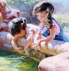 Pinturas al Óleo: Niñas Niñas Pintadas al Óleo Sobre Lienzo Lindas Pinturas al Óleo de Niñas Cuadros de Niñas PintorVladimir Volegov Retr...