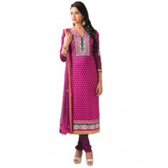 Magnificent Pink Cotton Designer #ChuridarKameez #SalwarKameez #Dress #Clothing #AnarkaliSuits