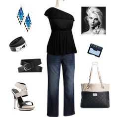 """Black and Blue"" by kentuckyfashion on Polyvore-Plus size"
