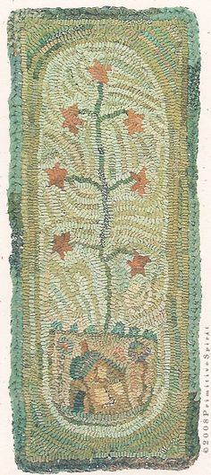 """Hooked Rug ... Feather Tree ... By Karen Kahle ... 9""""x 24"""""""
