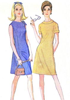 1960s Dress Pattern McCalls 8951 Mod A Line Roll by paneenjerez, $10.00