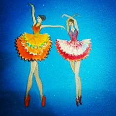 Ballerina made from pencil shavings and poster paints