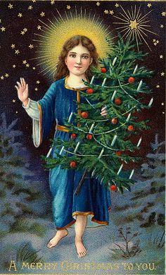 Vintage angel with halo and Christmas tree  http://wordplay.hubpages.com/hub/christmas-angel-cards