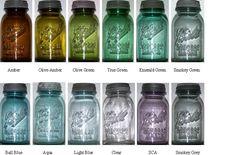 A rainbow of Ball jars.