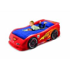 Jayden told me he'd sleep in his own bed all night long if I got him a car bed...bargaining already?!?  Little Tikes Cars 2 Lightning McQueen Sports Car Twin Bed
