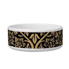 Gold Black Indian Motif Vintage Design Pattern Pet Food Bowl  #vintage #indian #pattern #gorgeous