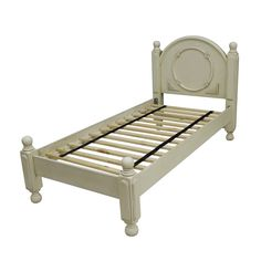 Victorian Style Antique White Polished Wood Single Bed Frame Plan Design With Curved Top Headboard Connected Ball Turned In Each Post Legs And Sturdy Natural White Oak Slats, Chic Awesome Single Bed Frames For Your Bedroom Inspiration Decor: Bedroom, Furniture, Interior, Kids room