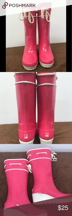 Sperry waterproof rubber wedge boots size 6 Sperry waterproof rubber wedge pink boots size 6 Sperry Shoes Winter & Rain Boots
