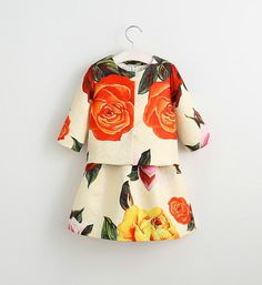 Set of Dress & Coat-High Quality - Multi Color Floral Printed Little Girl Dress Perfect for birthday, wedding, summer party or other occasion Material: cotton, linen Available from 3 - 8 years
