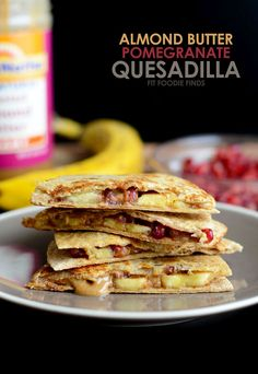 Make these Almond Butter Pomegranate Quesadilla for a fun, afternoon snack that's healthy, fiber packed, and naturally sweetened!
