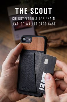 Tmbr Top Grain Leather & Cherry Wood Wallet iPhone 7 Card Case