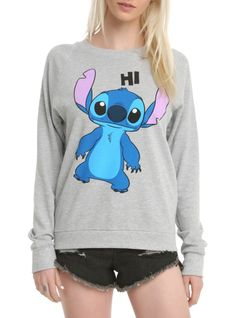 "Heather grey crewneck pullover top from Disney's Lilo & Stitch with ""Hi"" & ""Bye"" Stitch designs on front and back."