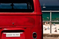 Summer this way - 4 x 6 inch fine art photographic print. Iconic red combi.  bondi beach, sydney, via Etsy