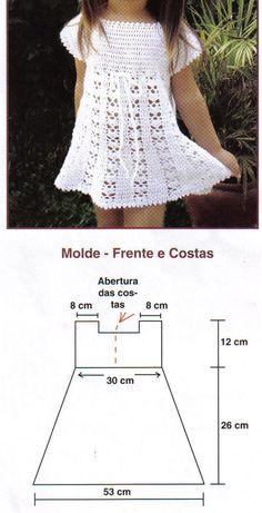 Receita de Crochê Infantil: Vestido de crochê branco com manguinha tamanho 2 anos
