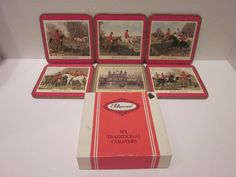 Pimpernel Drink Coasters In Box English Fox Hunting Red Border + Tower of London