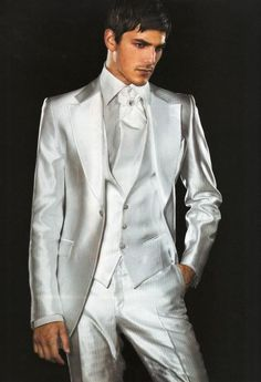 Custom Made Groomsmen Suits Silver Wedding Suits For Men Tuxedos Notched Lapel Men Suits One Button Three Piece Suit Jacket+Pants+Vest+Tie Formal Wear For Mens Gray Prom Tuxedos From Anniesbridal, $88.77| Dhgate.Com