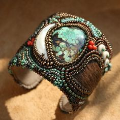 Bead embroidered cuff bracelet  Wild Thing by JirikiDesigns