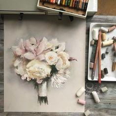 From today live stream It was nice to paint with you )) . Из сегодняшнего спонтанного прямого эфира )) Спасибо всем за компанию ❤️ Вместе было веселее гораздо и я почти закончила заказ )) . Уже вижу по фото, что надо доработать. Но большая часть все таки сделана! . Эфир пока доступен здесь, а на YouTube залью уже только завтра. . #sketch_daily #art_we_inspire #art_gallery #artofinsta #arts_help #пастель #сухаяпастель #букетневесты #свадебныйбукет #softpastel #softpastels…