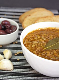 Fakes - Traditional Greek Lentil Soup!  Mock not, the humble lentil turns itself into a super tasty, substantial meal. Served with crusty bread, olives and feta cheese (absolutely necessary on a Greek table) this soup is a Winter staple in Greek homes. It is full of vitamins, iron and all of the antioxidant properties of GEVOO