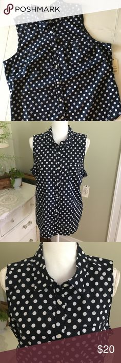"NWT St. John's Bay Sleeveless Polka Dot Top, XL This dark navy blue, sleeveless, white polka dot top from St. John's Bay is NWT and features a button down front. Size: XL. Chest: 22.5"" Length: 26.5"". St. John's Bay Tops"