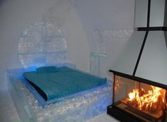 Ice Hotel, Quebec  (it has fireplaces, real ones it looks like)