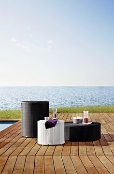 Arena coffee table Collection with aluminium frame and hand woven man-made fibre. #pool #beach #terrace #sun #relax #porch #circle #contractfurniture #contract #outdoor #outdoorfurniture #handmade #Rattanfurniture #PatioFurniture #WickerFurniture #OutdoorFurniture