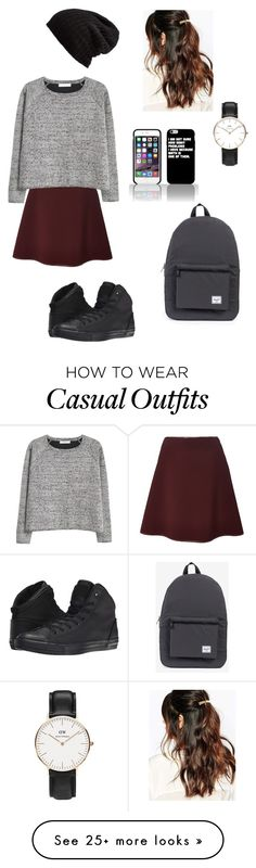 """""""Casual"""" by anna-obrien87 on Polyvore featuring Clover Canyon, MANGO, Converse, Daniel Wellington, Herschel Supply Co., Free People and Suzywan DELUXE"""